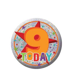 Happy 9th Birthday Badge - 5.5cm