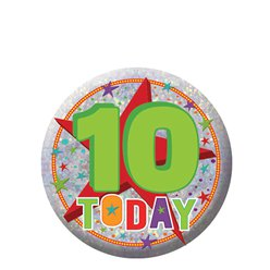 Happy 10th Birthday Badge - 5.5cm