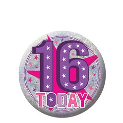 Happy 16th Birthday Badge - 5.5cm