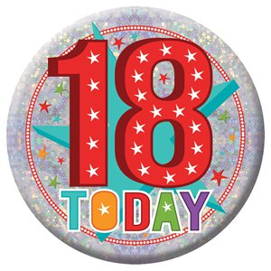 Large Happy 18th Birthday Badge - 15cm