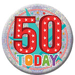 Happy 50th Birthday Badge - 15cm