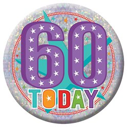 Large Happy 60th Birthday Badge - 15cm