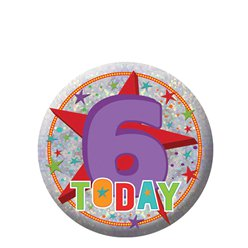 Happy 6th Birthday Badge - 5.5cm