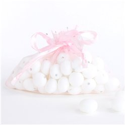 Pink Silver Dots Organza Bags - 15 x 11cm