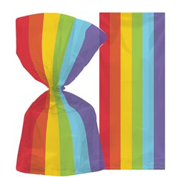 Small Rainbow Plastic Party Bags - 24cm