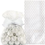 White Cello Treat Bags with Bow - 21cm