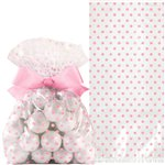 Pink Cello Treat Bags with Bow - 21cm