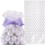 Lavender Cello Treat Bags with Bow - 21cm