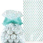 Robin Egg Blue Cello Treat Bags with Bow - 21cm