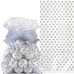 Silver Cello Treat Bags with Bow - 21cm