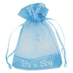 'It's A Boy' Organza Pouch - 9.5cm x 13cm