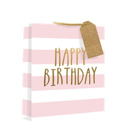 Pink Medium Stripe Birthday Gift Bag