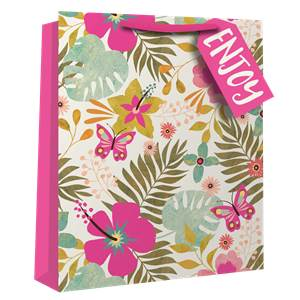 Large Tropical Neon Floral Gift Bag - 33cm