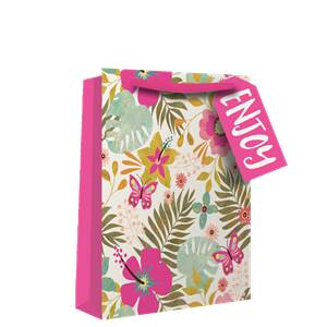 Tropical Neon Floral Perfume Gift Bag - 20cm