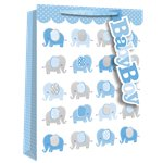 Extra Large Baby Boy Elephant Gift Bag - 45cm
