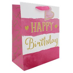 Pink Stripe Happy Birthday Large Gift Bag - 33cm