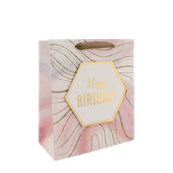 Marble Happy Birthday Medium Gift Bag - 25cm