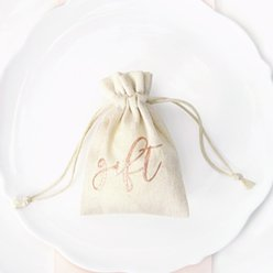 Wedding Rose Gold Cotton Gift Pouches