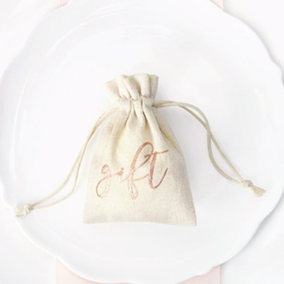 Rose Gold Cotton Gift Pouches