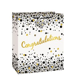 Congratulations Black & Gold Large Gift Bag - 30cm