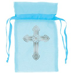 Blue Cross Organza Bags