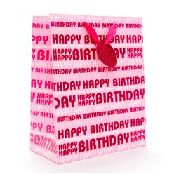 Pink Happy Birthday Glitter Gift Bag - Large