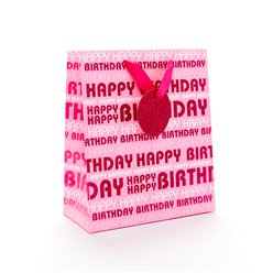 Pink Happy Birthday Glitter Gift Bag - Medium