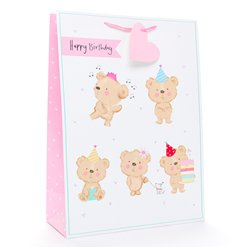Happy Birthday Bear Gift Bag - Extra Large