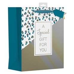 Gold & Teal Large Gift Bag