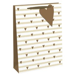 White & Gold Hearts Large Gift Bag
