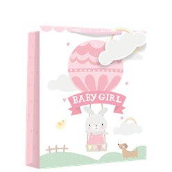 Medium Baby Girl Balloon Gift Bag - 25cm