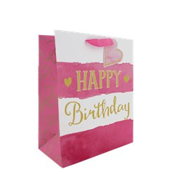 Pink Stripe Happy Birthday Medium Gift Bag - 25cm