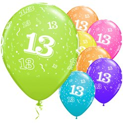 "13th Birthday Assorted Balloons - 11"" Latex"