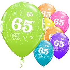 "65th Birthday Assorted Balloons - 11"" Latex"