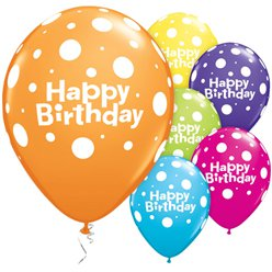 "Birthday Big Polka Dots Balloons - 11"" Latex"