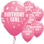 "Pink Birthday Girl Balloons - 11"" Latex"