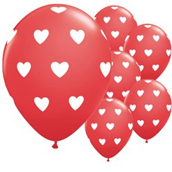 "Big Red Hearts Valentine's Balloons - 11"" Latex"
