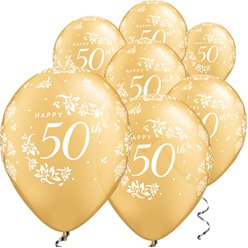 "Gold Damask 50th Anniversary Balloons - 11"" Latex"