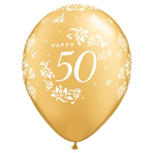 Gold Damask 50th Anniversary Balloons - 11
