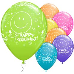"Retirement! Smile Face Balloons Assortment - 11"" Latex"