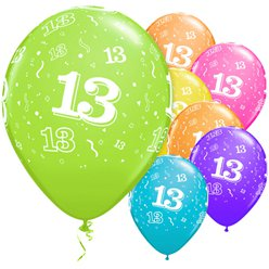 "13th Birthday Multicoloured Balloons - 11"" Latex"