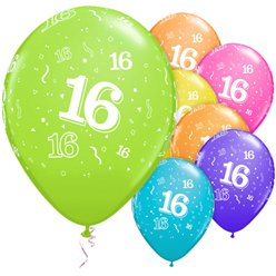 "16th Birthday Multicoloured Balloons - 11"" Latex"
