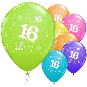 16th Birthday Multicoloured Balloons - 11