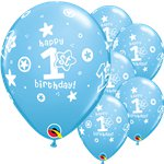 "1st Birthday Boys Stars Blue Balloons - 11"" Latex"