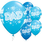 "Blue Starburst 'Dad You're the Best' Balloons - 11"" Latex"