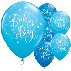 "Baby Boy Stars Blue Balloons - 11"" latex"