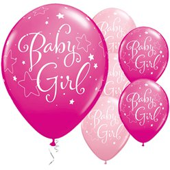 "Baby Girl Pink Stars Balloons - 11"" Latex"