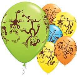 "Mischievous Monkeys Assorted Balloons - 11"" Latex"