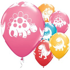 "Cute & Cuddly Dinosaurs Assorted Balloons - 11"" Latex"