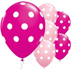 "Pink Big Polka Dots Balloons - 11"" Latex"
